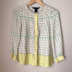 Marc Jacobs Pintuck Button Down Silk Shirt
